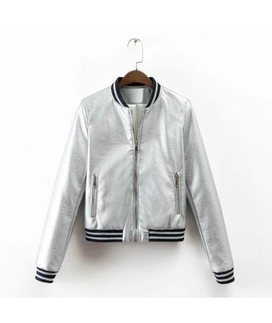 2019 Spring New Brand Women Bomber Jacket Womens Leather Jacket Metal Color Single Breasted female jacket JQ-9063 - Black - ...