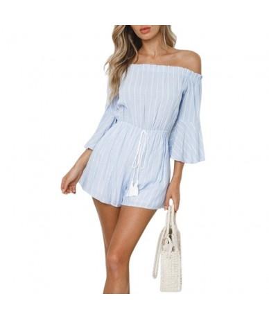 women Fashion Concise Casual Personality Srtiped Off Shoulder Jumpsuits combinaison pantalon femme rompers womens jumpsuit -...