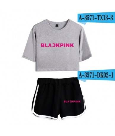 Kpop Blackpink Two Piece Set Summer Sexy Cotton T shirt Woman Shorts and Crop Top Fashion Tracksuit New 2 Piece Outfits Wome...