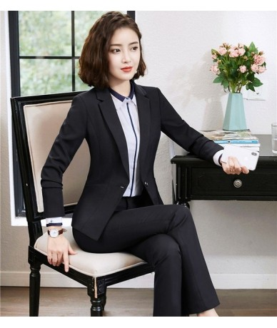 Formal Women Pant Suits Blazer and Jacket Sets Work Wear Ladies Business Suits Office Uniform Styles Navy Blue - Black - 4O3...