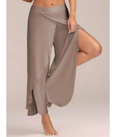 Plus Size Wide Leg Sport Pants Women Stretch Pants Female Broad Leg Split Dance Pants Long Trousers HB-Y8121 - Light Brown -...