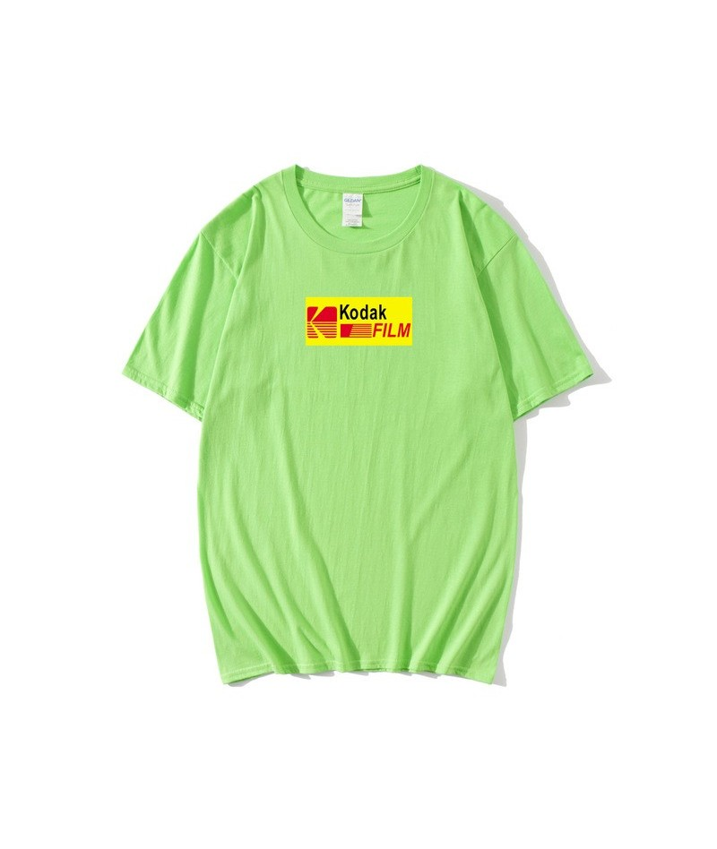 2019 summer men's women's T-shirt INS Korea retro loose wild Kodak letter short-sleeved Kodak 100% cotton T-shirt hip-hop wo...