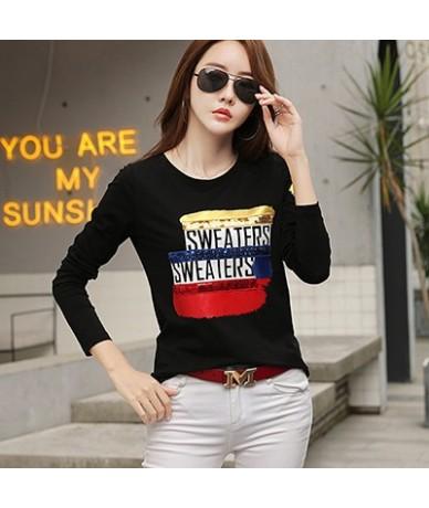 Autumn Long Sleeve Shirt Women Fashion 2019 Sequined Tshirt Woman Clothes T-Shirt Female Korean Style Tee Shirt Femme - blac...