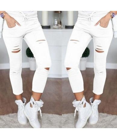 Women Leggings Holes Pencil Stretch Casual Denim Skinny Ripped Pants High Waist Jeans Trousers Fashion Pants - White - 40399...