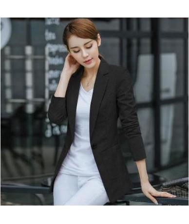 Large Size Blazer Women Spring Casual Three Quarters Sleeve Linen Suit Jacket Candy-Color Ladies Blazers Jackets XXXL 4XL A1...