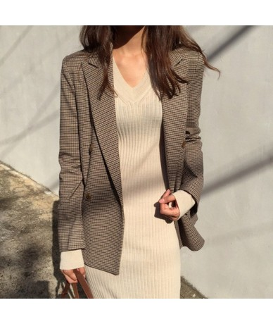 High Quality Double Breasted Thicken Plaid Blazer Female Long Sleeve Loose Office Ladies Suit Coat Jacket Women blazers - br...