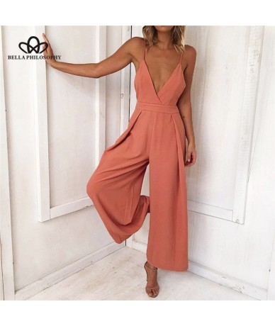 summer woman sexy jumpsuit causal v neck backless bow rompers clubwear loose wide leg high waist playsuits - 4G3975421113
