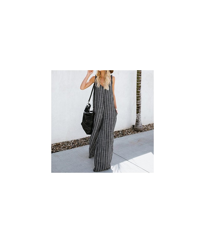 2019 Summer Oversized Loose Work OL Wide Leg Pants Jumpsuits Women Sexy Plus Size V Neck Striped Sleeveless Overalls Rompers...