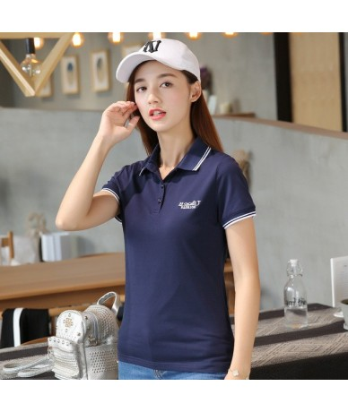 M-6XL Solid Polo Shirt Ladies Brand Clothing Casual Slim Women Polos Summer Work Polo Femme White Gray Clothes Girls Polo - ...