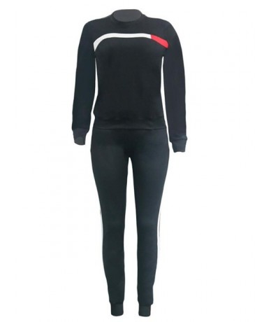 Women Set O Neck Long Sleeve Hoodies + Long Pant 2Pcs Ladies Sport Wear Femme Running Tracksuit Casual Suit - Black - 4T4116...