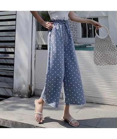 Streetwear 2019 Summer Polka Dot Pants Women Korean Boho High Waist Wide Leg Pant Plus Size Loose trousers women pantalon fe...