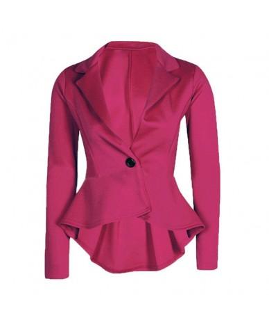 blazer women fashion cropped Blazer Jacket Outwear 2019 blazer mujer Slim Fit Peplum women suits d90523 - hot pink - 4641329...