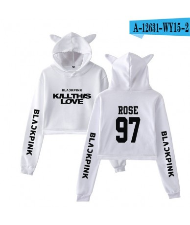 Blackpink Kill This Love Kpop Cat Cropped Hoodies Women Fashion Long Sleeve Hooded Pullover Crop Tops 2019 Hot Sale Casual W...