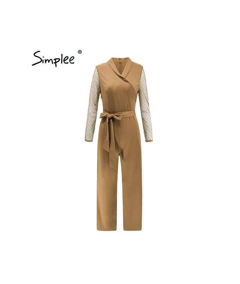 Sexy v-neck women jumpsuit romper Elegant long sleeve office ladies jumpsuit Sashes plus size red long overalls playsuit - K...