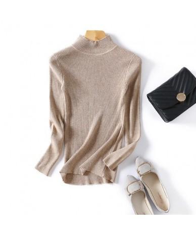 Autumn Winter Women Pullovers Sweater Knitted Elasticity Casual Jumper Fashion Slim Turtleneck Warm Female Sweaters - khaki ...
