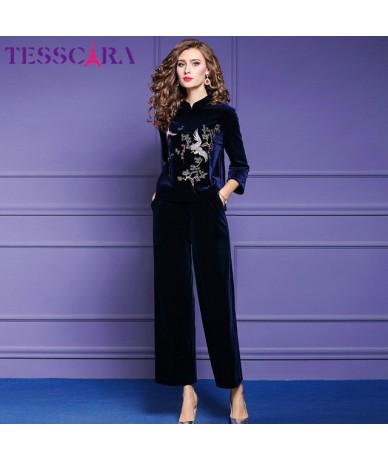 Women Autumn Winter Elegant Embroidery Pant Suit Set Female Office Two Piece Set Chinese Style Designer Two-piece Suits - Bl...