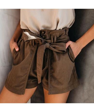 2019 Summer 100% Cotton Shorts Women Casual Cute Bow Belt High Waist Shorts Female Beach Holiday Hot Short Pants Ladies - co...