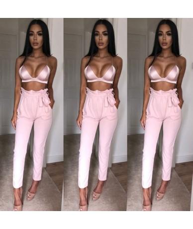 2018 NEW Women High Waist Slim Skinny Leggings Stretchy Bow Belt Drawstring Pants Jeggings Pencil Trousers - Pink - 4O394734...