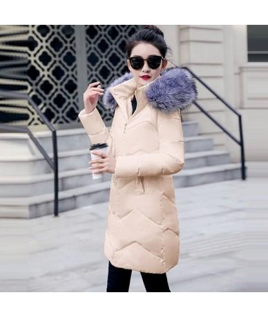 Winter jacket women 2019 Winter Female Long Jacket Hooded Winter Coat Women Fake Fur Collar Warm Woman Parka White down jack...