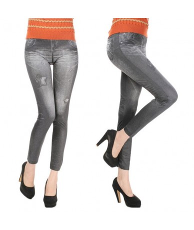 Hot Sale Sexy Women Jean Skinny Jeggings Stretchy Slim Leggings Fashion Skinny Pants Denim Legins Women - Star Gray - 4X3892...