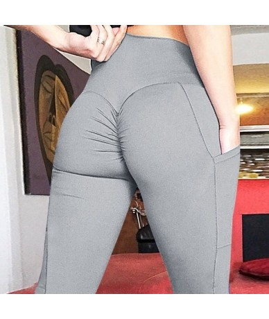 New Women Leggings High Waist With Pockets Patchwork Ankle-Length Leggings Sexy Workout Female Fitness Jeggings - gray - 4I3...