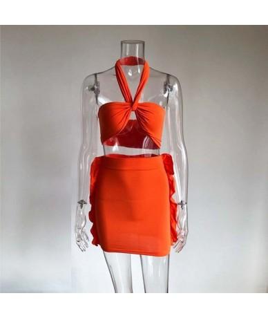 Sexy Neon Orange Halter Cris Cross Mini Skirt Two Piece Set Womens Stretchy Crop Top And Ruffles Skirt Set Wholesale - Green...