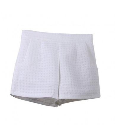 High Waist Shorts Europe Style Fashion Women Casual Plaid Shorts Summer Jeans Shorts - White - 483931464579-3