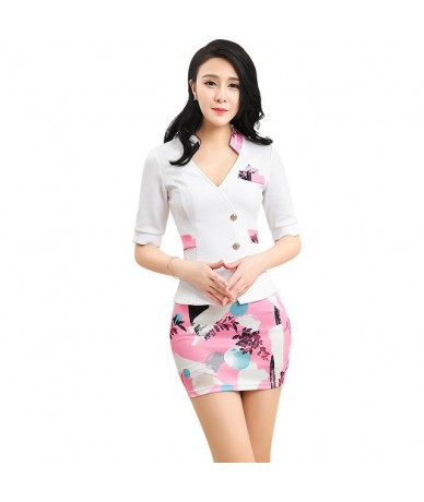 Women's suits New summer short Slim Patchwork printing Short sleeve jacket skirt Business OL Formal Skirt Suits - Pink - 463...