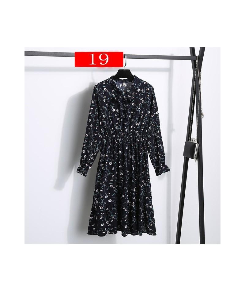 Chiffon Women Midi Dress Summer Fashion Sexy Boho Elastic High Waist Long Sleeve Print Elegant Bow Party Night Vestidos - Co...