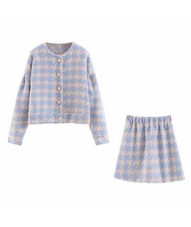sexy plaid woolen blazer set women 2019 autumn winter two pieces blazer outfit streetwear office lady outerwear - Blue - 541...