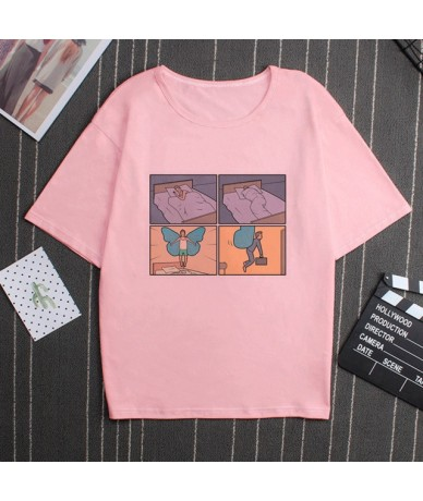 My Brain My Anxiety Print Pink T Shirt Funny Mischief Spoof Personality Vogue Summer Harajuku Casual Loose Women Top Clothin...