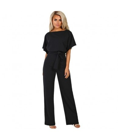 Women Jumpsuit Summer Casual Short Sleeve Ladies Solid Rompers O Neck Lace Up Party Jumpsuit 2019 Women Clothes - Black - 5E...