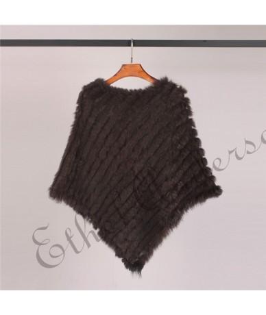 Real Fur Knitted Rabbit Fur Poncho Vest Vest Fashion Wrap Coat Vtg Shawl Lady Natural Fur Wedding Party Wholesale - Black - ...
