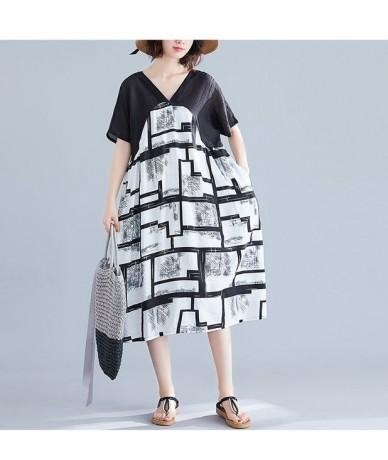 2019 new Summer Dress Comfortable Long dress Vestidos Robe Cotton linen printing stitching art Women dress - white - 4H41579...