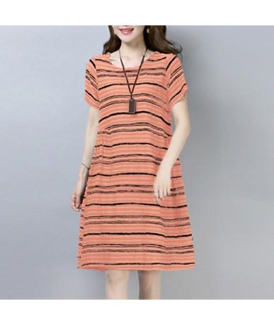 Vintage Ethnic Dress 2019 Summer Dress Women Striped Print Short Sleeves Pockets Loose A-Line Cotton Linen Dresses female Ro...