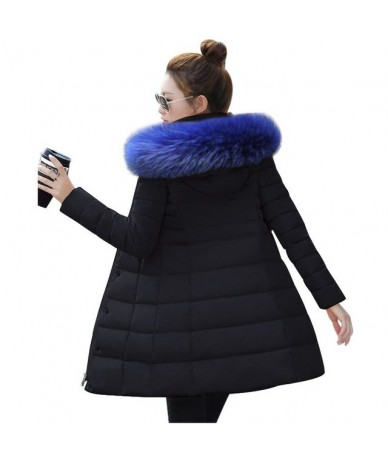 Winter Jacket Women 2019 Middle Long Cotton-padded Jackets Big Fur Hooded Collar Parkas Thicken Warm Winter Coat Female Park...