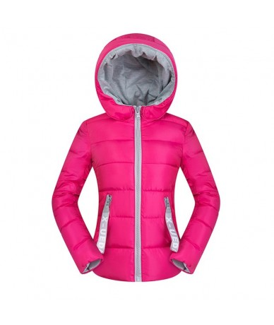 Womens Parkas Winter Jacket Coat Casual Solid Warm Thicken Hooded zipper Cotton padded Short outwear coat Tops - Rose - 4O39...