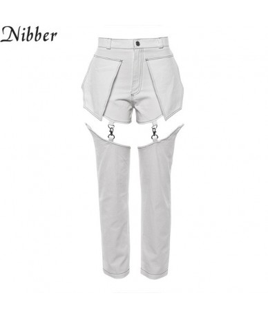 2018 popular women's fashion punk style women's street hot pants stitching trousers low waist slim feet pants casual - White...