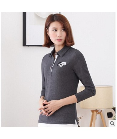 Autumn winter cool casual women Lovely mushroom embroidery polo shirt long sleeve Slim women polo femme shirts plus size - G...
