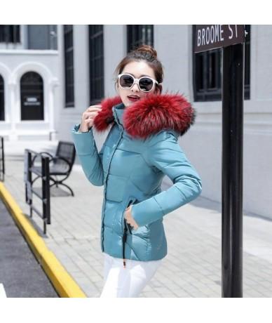 2019 Fashion Short Winter Jacket Women Slim Female Coat Thicken Parka Cotton Hooded Fur Collar plus size S-3XL Ladies Jacket...