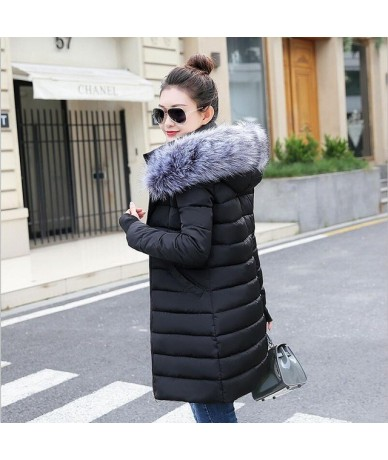 womens winter jackets and coats 2019 Parkas for women 4 Colors Wadded Jackets warm Outwear With a Hood Large Faux Fur Collar...