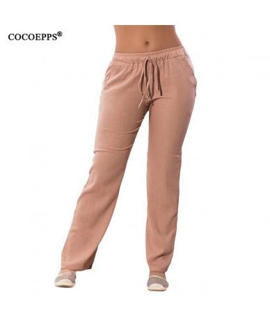 Women Casual Chiffon Pants Big Size Solid Summer Female Trousers 2019 Large Size Drawstring Elastic Waist Pockets Pants - Kh...