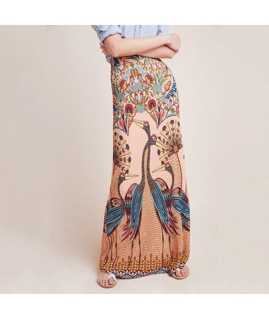 Women High Waist Ethnic Printed Maxi Skirts Bottom Boho Style Chic Pencil Skirt Female Vintage Sexy Skirt Holiday Beach Skir...