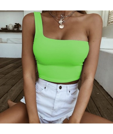 Ladies Sexy Neon Pink Tank Top Sleeveless Cropped Vest Top Summer Women Casual Stretch Bralette One Shoulder Camis Plus Size...