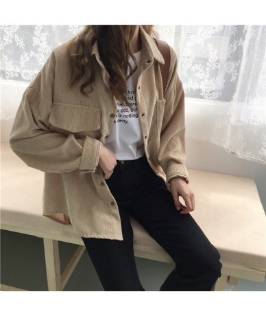 2018 spring and autumn Loose Shirts Korean Solid Blouse Long Sleeve Corduroy blouses Women Tops outwear coats - khkai - 4T30...
