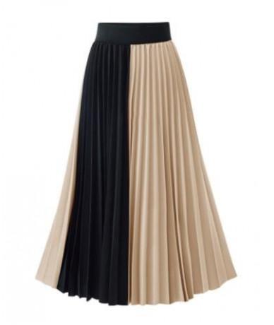 Summer 2019 New Arrivals Euro Style Midi Pleated Skirt For Women Blue Apricot Skirts Womens Elastic Waist Saia - Khaki - 4T3...