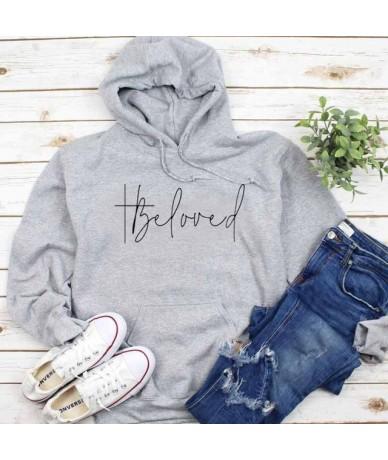 Beloved Graphic Hoodies Women Believer Love Sweatshirt Christian O-neck Pullover Jesus Cross Jumpers Girl Tumblr Tops Drop S...
