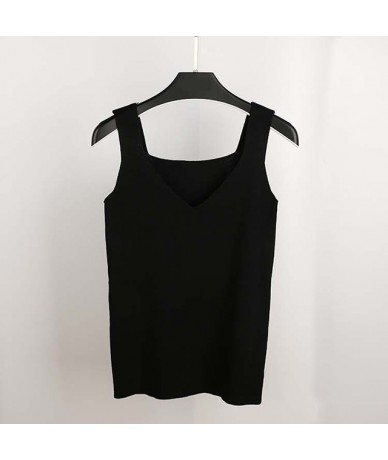 Sexy V Neck Knitted Crop Top Women's Shirt Plus size Tank Top Underwear Top Women Casual Streetwear Clothing For Women - Bla...