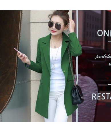 Spring Autumn Women Long Blazers and Jackets New Casual Female Suit Jacket Slim Lapel Coat Plus Large Size Green - Green - 4...