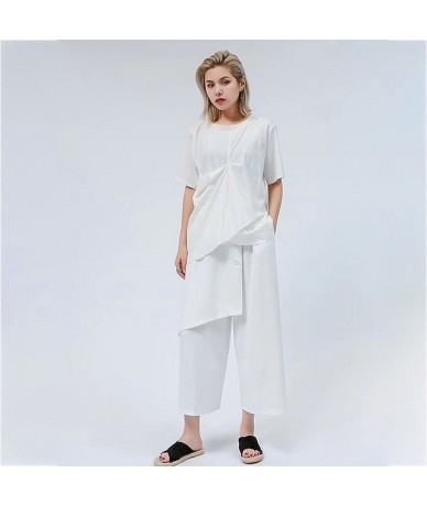 Summer Women Two Piece Set O Neck Short Sleeve Draped Pullover T-shirt With Patchwork Irregular Elastic Waist Pant Sets - Wh...